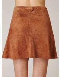 Free People | Brown Suede Circle Skirt | Lyst
