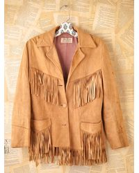 Free People | Brown Vintage Leather Fringe Jacket | Lyst