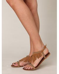 Free People | Brown Wink Fringe Sandal | Lyst