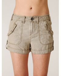 Free People | Brown Fridas Linen Cargo Short | Lyst