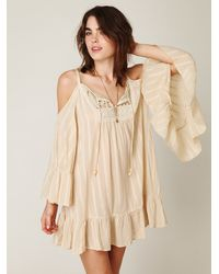 Free People | Natural Angel Wings Open Shoulder Dress | Lyst