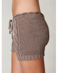 Free People - Brown Cable Knit Shorts - Lyst