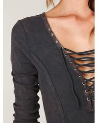 Free People | Gray Chilton Lace Up Long Sleeve Top | Lyst