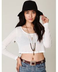 Free People - White Cropped Long Sleeve Rib Top - Lyst