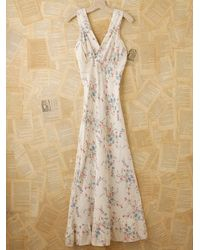 Free People | White Vintage Printed Slip Dress | Lyst