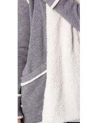 Splendid | Gray Sherpa Fleece Cardigan | Lyst