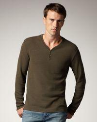7 For All Mankind | Green Slub-knit V-neck Henley, Loden Olive for Men | Lyst
