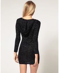 ASOS Collection - Black Asos Petite Exclusive Hooded Glitter Dress - Lyst