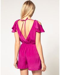 ASOS Collection | Blue Asos Petite Exclusive Playsuit with Ruffle Shoulder Detail | Lyst