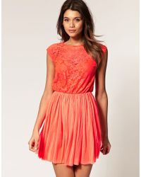 ASOS Collection | Red Asos Skater Dress with Lace and Mesh | Lyst