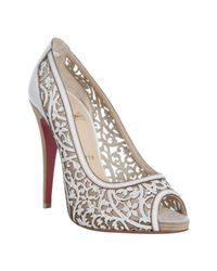 Christian Louboutin | White Laser Cut Leather Pampas 120 Peep Toe Pumps | Lyst