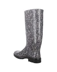 Dolce & Gabbana - Black and Beige Lace Patterned Rubber Rain Boots - Lyst