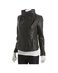 Elie Tahari | Gray Tusk Lamb Leather Virgina Wide Collar Asymmetrical Jacket | Lyst