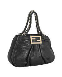 Fendi | Black Pebbled Nappa Mia Small Chain Bag | Lyst