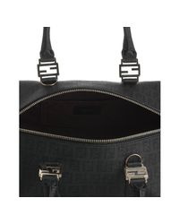 Fendi - Black Zucchino Spalmati Leather Trimmed Forever Bag - Lyst