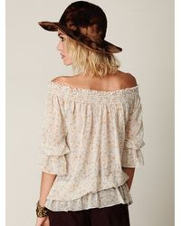 Free People | Multicolor Off The Shoulder Printed Embroidered Top | Lyst