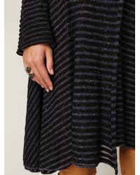 Free People | Black Sheer Stripe Long Cardigan | Lyst