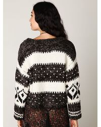 Free People | Black Ribbed Henley Jumper | Lyst