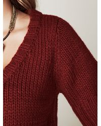Free People | Red Cropped Cardigan | Lyst