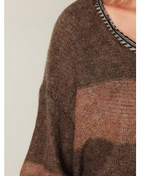 Free People - Brown Wide Stripes Pullover - Lyst