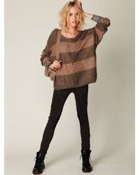 Free People | Brown Wide Stripes Pullover | Lyst