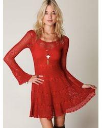 Free People | Red Belle Sweater Knit Dress | Lyst