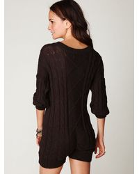 Free People | Brown Cable Knit Playsuit | Lyst