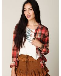 Free People - Multicolor Crochet Back Plaid Button Down - Lyst