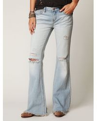 Free People | Blue Destroyed Denim Flare | Lyst