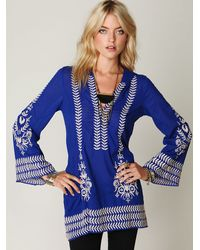 Free People | Blue Embroidered Flora Pullover | Lyst