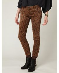 Free People | Multicolor Floral Printed Corduroy Ankle Skinny | Lyst