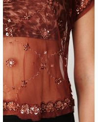 Free People | Brown Crafty Embellished Crop Tee | Lyst