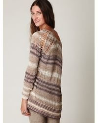 Free People | Natural Stripe Tape Yarn Pullover | Lyst