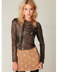 Free People - Brown Blur Ria Leather Jacket - Lyst