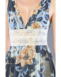 Free People - Blue Babydoll Lace Inset Swing Tunic - Lyst