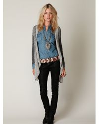 Free People - Gray Cable Swing Cardigan - Lyst