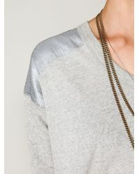 Free People | Gray Sequin Shoulder Pullover | Lyst