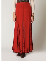 Free People | Red Fleur Godet Maxi Skirt | Lyst