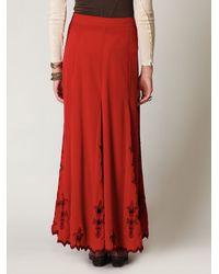Free People - Red Fleur Godet Maxi Skirt - Lyst