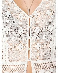 Free People | White Scalloped Lace Button Down Crop Top | Lyst