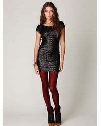 Free People | Black Sequin Fever Bodycon Dress | Lyst