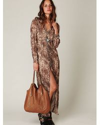 Free People | Brown Dreamtime Leopard Maxi Dress | Lyst
