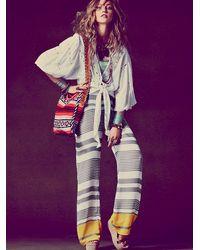 Free People | Brown Sheer Stripe Romper | Lyst