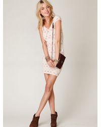 Free People - Natural Short Sleeve Bow Back Dress - Lyst