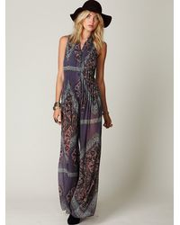 Free People | Purple Stillwater Wideleg Jumpsuit | Lyst