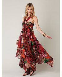 Free People - Red Printed Maxi Dress - Lyst
