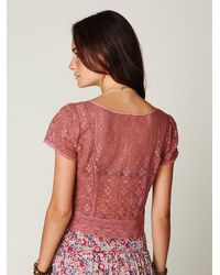 Free People - Pink Scalloped Lace Button Down Crop Top - Lyst