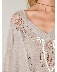 Free People - Gray Kona Pointelle Poncho - Lyst