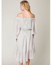 Free People | Gray Shaku Peasant Dress | Lyst