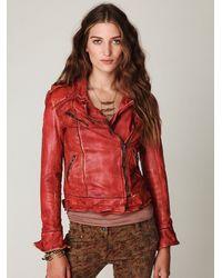 Free People - Red Muubaa Vintage Leather Jacket - Lyst